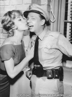 Guest Star Barbara Eden with Don Knotts during production of an episode of 'The Andy Griffith Show' titled 'The Manicurist.'