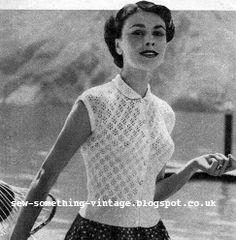 Free 1950's Knitting Pattern - Lace Blouse https://docs.google.com/open?id=0B0leCxVfAxqjbVFERFNma25YVjQ