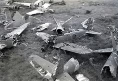 Dump of broken Japanese warplanes. In the foreground lying the wreckage of Mitsubishi Zero fighter. In the background – Nakajima Hayabusa Single Seat Fighter. Ww2 Planes, Ww2 Aircraft, Luftwaffe, War Machine, Battleship, World War Two, Wwii, Abandoned, Fighter Jets
