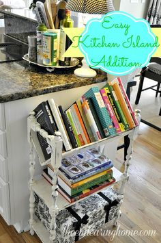 Cookbook shelf cookbook storage in kitchen kitchen bookshelf kitchen island Kitchen Bookshelf, Diy Kitchen Storage, Home Decor Kitchen, Kitchen Organization, New Kitchen, Kitchen Design, Kitchen Island, Kitchen Ideas, Organization Ideas
