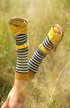 saltwater sandals+socks it's a strong look. Mellow Yellow, Yellow Black, Color Yellow, Socks And Sandals, Knitting Socks, Knit Socks, Mode Inspiration, Sock Shoes, Who What Wear