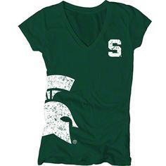 Michigan State Spartans Women's Dark Green Cossett Mascot Deep V-Neck Tee #spartans