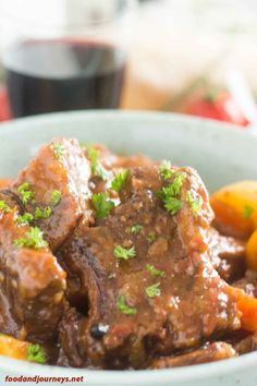 Closer shot of Spanish Beef Stew, highlighting the stickiness of the beef.