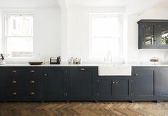 Kitchen Island Color--option? Chevron pattern wood floors. Bath Shaker Kitchen