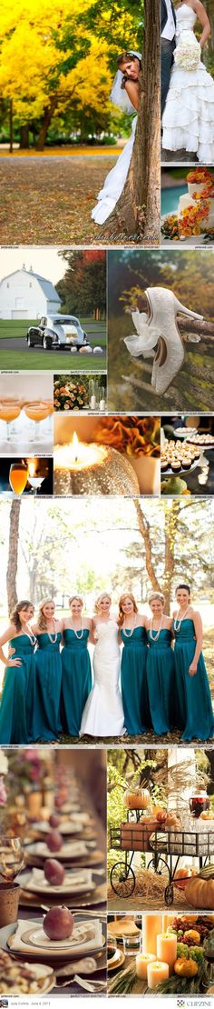 This is why I got married in the fall....love the colors!! Teal is such a cute idea too!