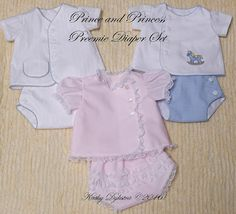 What could be sweeter to bring home your prince or princess in than this sweet diaper set!!! This pattern has been designed to fit a 4 - 5 lb. preemie. It is the perfect home from the hospital or going out outfit for the tiny prince or princess and will allow these little ones to look adorable in a custom-made heirloom outfit that actually fits! The vintage style is guaranteed to look adorable! Start sewing this special outfit right away with the instant PDF downloadable pattern. The sewing…