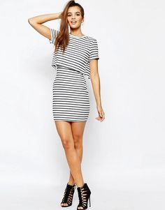 Daisy Street | Daisy Street Stripe Layered Dress in Jersey Rib