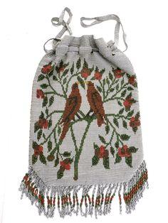 Antique Cut Steel Beaded Purse  Red Birds Motif Victorian Handmade