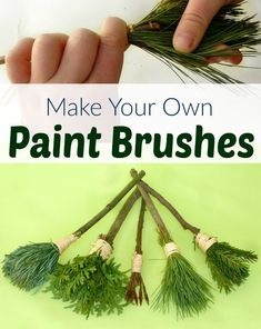 Make these easy nature paint brushes for your toddler to paint with. An amazing sensory activity for kids (And pine needles make fantastic brushes!) nature crafts DIY Nature Paint Brushes for Kids Diy Nature, Theme Nature, Art In Nature, Nature Beach, Nature Activities, Toddler Activities, Outdoor Preschool Activities, Rainforest Activities, Preschool Camping Theme