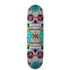 Hipster Sugar Skull and Teal Blue Floral Roses Custom Skate Board ($60) ❤ liked on Polyvore