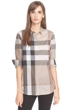 Burberry Brit Check Print Cotton Shirt available at Burberry Women, Burberry Brit, Cut Shirts, Printed Shirts, Only Shirt, Beautiful Blouses, Printed Cotton, Long Sleeve Shirts, Clothes For Women