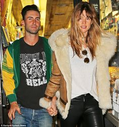 Newlyweds: Adam and Behati (seen here in New York on Thursday) have been married for less than one year
