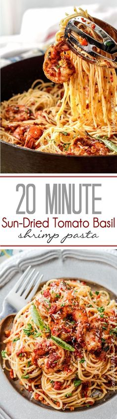 20 MINUTE or less Sun-Dried Tomato Basil Shrimp Pasta packed with juicy shrimp (or chicken) and more flavor than a 5 star restaurant at a fraction of the cost!