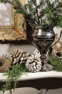 tarnished silver, pinecones and greens