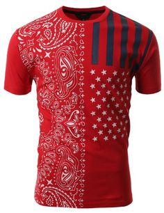 SMITHJAY Mens Hipster Hip-Hop American Flag Paisley T-shirt RED