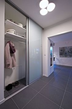 Home accessories & furnishing ideas from WOONIO - glass sliding cupboard doors # Jubilee House entrance area - Sliding Cupboard, Cupboard Doors, Sliding Doors, Corner Cupboard, Hall Wardrobe, Corner Wardrobe, Open Wardrobe, German Decor, Armoire D'angle
