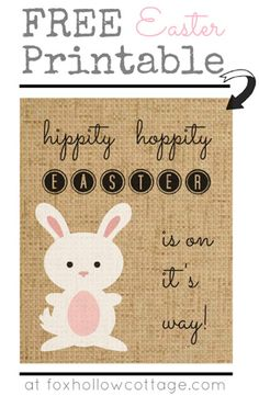 Free #Easter burlap bunny #printable from Fox Hollow Cottage, featured @printabledecor1