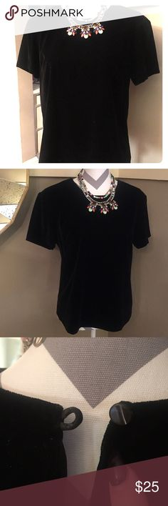 J. Crew Black Velvet Dress Top/Shell MINT Condition J. Crew Black Velvet Shell. Has a button closure on the back neckline for easy dressing. This is the perfect staple piece for any wardrobe & can be dressed up or down. Wear with jeans, skirt, dress pants... So many choices. J. Crew Tops
