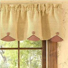 Burlap Check Red Lined Scallop Valance measures x 100 cotton lined Dry cleaning recommended to prevent shrinkage Coordinating window treatments are available Burlap Valance, Drapes Curtains, Curtain Valances, Cortinas Country, Burlap Kitchen, Primitive Kitchen, Country Kitchen, Diy Kitchen, Kitchen Decor