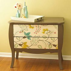 Use leftover wallpaper to make over an old dresser. Select a wallpaper design that can be turned horizontally to avoid seams if the drawer width is greater than the paper width. Paint the dresser a color that coordinates with the wallpaper. Following the paper manufacturer's directions, adhere wallpaper to each drawer front and let dry. Trim off excess paper. Add new knobs to the drawer fronts.