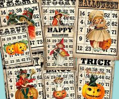 HAUNTED BINGO CARdS Collage Digital Images -printable download PDF file-. $4.35, via Etsy.