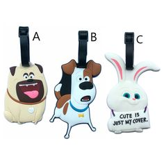 20pcs/lot Cute Pets Luggage Tag Cartoon Rabbit Dogs PVC Fashionable Suitcase Label Address/Phone/Name Holder Travel Accessories