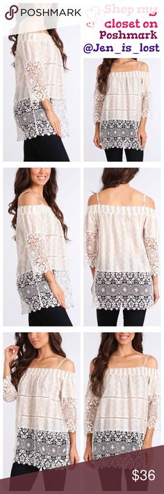 Taupe Off the Shoulder Tunic  S, M Taupe Off the Shoulder Tunic  Floral print 3/4 sleeve relaxed fit off the shoulder tunic with crochet lace trim.  Fabric:  Content: 65% COTTON, 35% LINEN.  Color is taupe.  🚫No Trades🚫 ✅Reasonable Offers Are Considered✅ Use the blue offer button. Tops Tunics