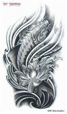 koi fish lotus flower tattoos - Thinking my thigh Carpe Koi Tattoo, Pez Koi Tattoo, Koy Fish Tattoo, Carp Tattoo, Tattoo Ink, Tatto Koi, Ganesha Tattoo, Yakuza Tattoo, Tattoo Outline