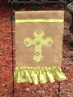 Burlap Flag Cross And Ruffle Handmade Christian Lime Green Trellis Fabric Garden
