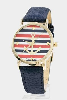 Sincerely Sweet Watch -Nautical Hour Anchor Striped Watch in Navy