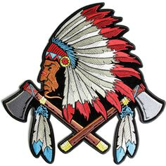Indian Head Dress Axes and Feathers Large Patch