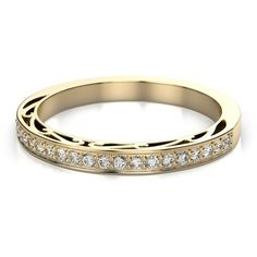 .22ctw Vintage Round Cut Wedding Band in 18k Yellow Gold VS G-H (£730) ❤ liked on Polyvore featuring jewelry, rings, round cut engagement rings, gold wedding rings, 1920s engagement rings, vintage wedding rings and round engagement rings