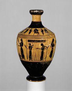 Attributed to the Amasis Painter: Lekythos, ca. 550–530 B.C.; Archaic, black-figure Attributed to the Amasis Painter Greek, Attic The Metropolitan Museum of Art