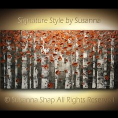 ORIGINAL Large Abstract Copper Birch Trees by ModernHouseArt, $400.00