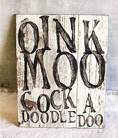 New Country Chic Farm Animal Ad OINK MOO COCKA DOODLE DOO Wall Plaque Sign #RusticPrimitive