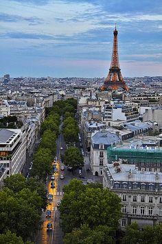 Eiffel Tower from the Arc de Triomphe, Paris, France.