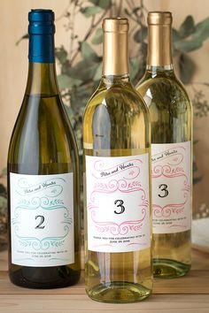 Wine Bottle Table Numbers & Wine Glass Escort Cards