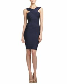 T77AD Herve Leger Cut-In Bandage Dress, Pacific Blue
