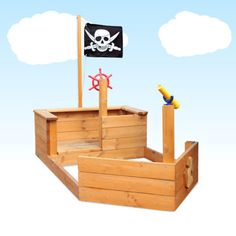 Kids Pirate Ship Sand PIT Outdoor Timber Playground Play Equipment- The boys could build this! Kids Outdoor Play, Outdoor Play Spaces, Kids Play Area, Outdoor Fun, Play Areas, Outdoor Games, Kids Yard, Play Yard, Backyard Playground