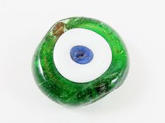 Recycled Bottle Green Evil Eye Nazar Glass Bead  by LylaSupplies, $2.00