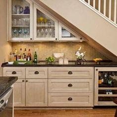 Stair Design With Mini Bar With Cabinets , Under Stair Design With Mini Bar In Home Design and Decor Category