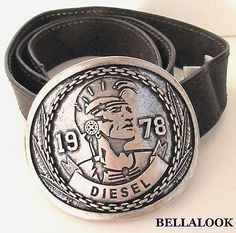 """DIESEL LARGE BUCKLE BROWN LEATHER MENS BELT SIZE 100cm (39"""") MADE IN ITALY"""