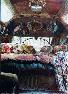 that bohemian girl...this is actually inside a small camper/bus and she travels in it..amazing..my mom has kept a magazine pic of it for years