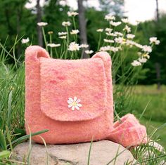"""""""Woolly Bully Bag"""" - free pattern by Lori Puthoff. Knit and felted with Morning Bright Holistic Merino Bulky yarn in """"Speakeasy""""."""