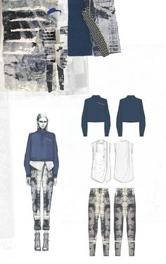 Fashion Sketchbook - fashion design drawings & textiles swatches; fashion portfolio layout // Amy Dee -Display of spec drawings next to sign, works well. Smart and cohesive.