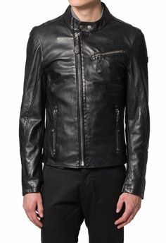MENS BIKER LEATHER JACKET, MEN FASHION BLACK LEATHER JACKET, MEN LEATHER JACKETS - Outerwear