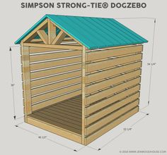 dog house diy Learn how to build a stylish outdoor DIY doghouse gazebo for your favorite furry friend using Simpson Strong-Tie products. Building plans by Jen Woodhouse. Pallet Dog House, Build A Dog House, Dog House Plans, Diy Cabin Bed, Diy Dog Bed, Cool Dog Houses, Play Houses, Outdoor Dog Area, Murphy Bed Plans