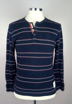 100% Authentic THOM BROWNE Long Sleeve Sweater Shirt Cotton Stripe Blue Size 4 #ThomBrowne #SweaterShirt