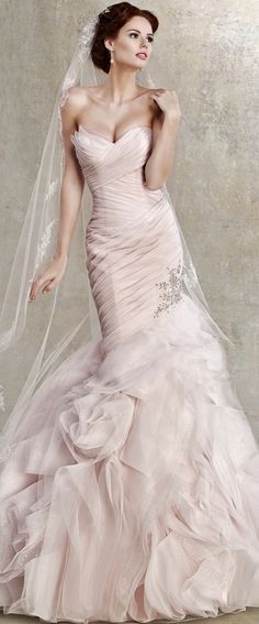 #weddingdresses - This pastel colored wedding dress has a fit-and-flare style. The ruched bodice and gathered skirt complete the design. We are in the US and can recreate a wedding gown like this for you in any color, size or with ANY changes. www.dariuscordell.com/featured/custom-wedding-dresses-custom-bridal-gowns/