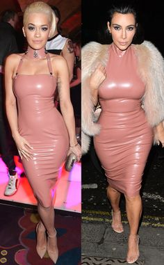 Rita Ora vs. Kim Kardashian from Bitch Stole My Look! Curves ahead! The singer and the reality star flaunt their figures in an ultra-tight Atsuko Kudo latex dress. Kim completes the look with a fur shrug, while Rita lets her neck hardware do all the talking. Who wears it best?
